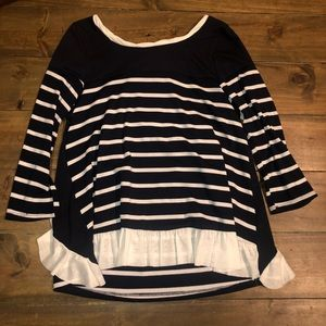 ⭐️Ruffled Navy/White Boutique Top